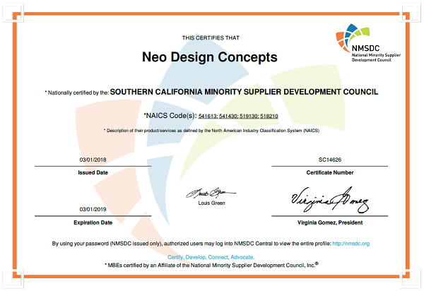 Neo Design Concepts - Minority Business Enterprise Certifications_January 2018_600x412